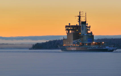 YMER Icebreaker in action without any trace of smoke in the chimney.